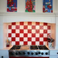 Rode keuken - Rode mozaiek tegel ...